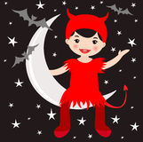 Cute devil sitting on the moon Royalty Free Stock Photo