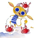Cute devil in a striped bathing suit and three crabs. Watercolour illustration Royalty Free Stock Image