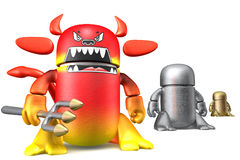 Cute devil toy robots isolated on a white Stock Image