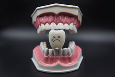 Cute di modello gioca i denti in odontoiatria su un fondo nero immagine stock