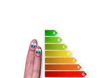 Diagram of house energy efficiency rating with cute fingers. Cute diagram of house energy efficiency rating with two cute happy fingers Stock Photos