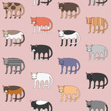 Cute different cartoon cats pattern. Cute different cartoon cats seamless pattern Royalty Free Stock Photo