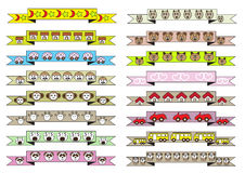 Cute different cartoon style ribbons Stock Image