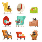 Cute different cats characters lying and resting on armchairs set of vector Illustrations Royalty Free Stock Photography