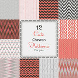 12 Cute different chevron vector seamless patterns (tiling). Black, white and red color. Endless texture can be used for printing onto fabric and paper or Royalty Free Stock Image