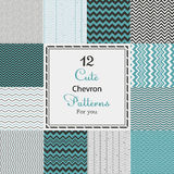 12 Cute different chevron vector seamless patterns (tiling). Stock Photo