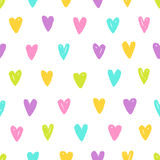 Cute different colors hearts. Vector hand drawn seamless pattern Stock Photo