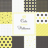 12 Cute different dotted vector seamless patterns (tiling). Polka dots set. Black, white and yellow color. Endless texture can be used for printing onto fabric Stock Photos