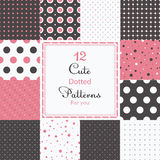 12 Cute different dotted vector seamless patterns (tiling). Polka dots set. Black, white and yellow color. Endless texture can be used for printing onto fabric Stock Image