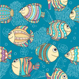 Cute different fishes. Illustration of cute different fishes .  Seamless pattern Stock Photos