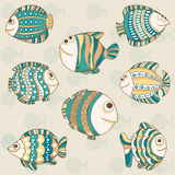 Cute different fishes . Vector illustration of cute different fishes .  Seamlessly pattern Stock Photo