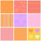 Cute different  seamless patterns. Pink and white. Endless texture can be used for sweet romantic wallpaper, pattern fill, w Royalty Free Stock Photography