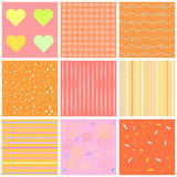 Cute different  seamless patterns. Pink and white. Endless texture can be used for sweet romantic wallpaper, pattern fill, w. Cute different  seamless patterns Royalty Free Stock Photo
