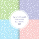 4 Cute different  seamless patterns Stock Photo