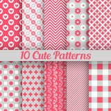 Cute different seamless patterns. Vector. 10 Cute different seamless patterns. Vector illustration for beauty design. Pink, white and grey colors Royalty Free Stock Photo