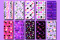 10 Cute different  seamless patterns . Wavy lines, squares, swirl, circles, brush strokes, triangles and stars.  Endless tex Stock Photos
