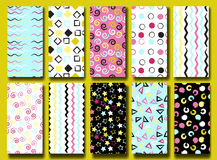 10 Cute different  seamless patterns . Wavy lines, squares, swirles, circles, triangles and stars.  Endless texture can be u Royalty Free Stock Images