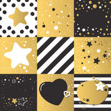 Cute different vector backgrounds set patterns dark gold color with stars, hearts collection. Stock Photo