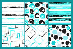 6 Cute different vector seamless patterns. Swirl, circles, brush strokes, squares, abstract geometric shapes. Polka dots Stock Photos
