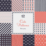 12 Cute different vector seamless patterns (tiling). Endless texture can be used for printing onto fabric and paper. Heart, stripes, rhombus, chevron Royalty Free Stock Photography