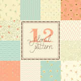12 Cute different vector seamless patterns (tiling Royalty Free Stock Image