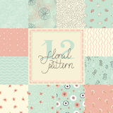12 Cute different vector seamless patterns (tiling). Royalty Free Stock Images