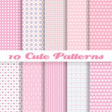 Cute different vector seamless patterns (tiling). 10 Cute different vector seamless patterns (tiling). Pink color. Endless texture can be used for sweet Stock Images