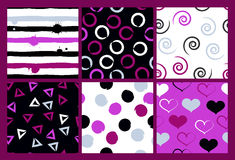 6 Cute different vector seamless patterns. Wavy lines, swirl, circles, brush strokes, hearts. Polka dots and stripes Royalty Free Stock Photo