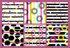 6 Cute different vector seamless patterns. Wavy lines, swirl, circles, brush strokes. Polka dots and stripes.  Endless Stock Photography