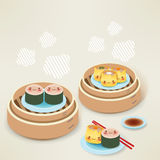 Cute Dim sum. Chinese Food Vector File EPS10 Royalty Free Stock Photography