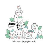 Cute dino cartoons that are be best friend royalty free illustration