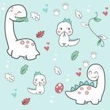 Cute dino cartoons hand drawing stock illustration