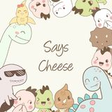 Cute dino cartoons say cheese stock illustration