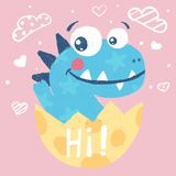 Cute dino, dinosaur illustration for print t-shirt. Hand drawn style. Baby in egg. vector illustration