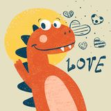 Cute dino, dinosaur illustration for print t-shirt. Hand drawn style. vector illustration