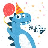 Cute dino, dinosaur illustration for print t-shirt. Hand drawn style. Happy birthday. Vector eps 10 vector illustration