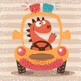 Cute dino drive funny car. Hand draw vector illustration