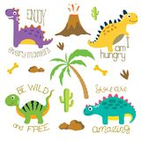 Cute dino illustration Stock Photography