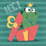 Cute dino with red gift royalty free illustration