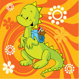 Cute dino with school bag. On abstract background with flowers Stock Images