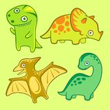 Cute dino set, flat vector illustration. Isolated dinosaur for nursery. Tyrannosaur pterodactyl triceratops diplodocus