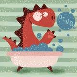 Cute dino wash in bathroom royalty free illustration