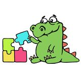 Cute dinosaur assemble the puzzles illustration. Melancholy cartoon character Royalty Free Stock Photography