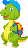Cute dinosaur with backpack vector illustration