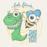 Cute dinosaur and bee drawing for baby fashion Royalty Free Stock Photography