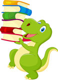 Cute dinosaur with book stock illustration