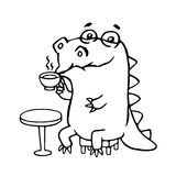 Cute dinosaur in cafe. Vector illustration. royalty free stock photos