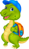 Cute dinosaur cartoon with backpack Royalty Free Stock Image