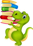 Cute dinosaur cartoon with book Stock Photos