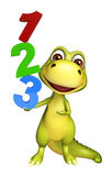 Cute Dinosaur cartoon character with 123 sign. 3d rendered illustration of Dinosaur cartoon character with 123 sign stock illustration